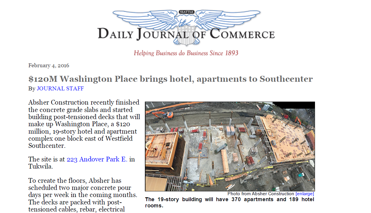 Washington Place project featured in DJC article